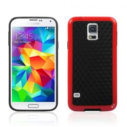 Samsung G900 Galaxy S5 Red Gel Case With Black Carbon Cube Effect
