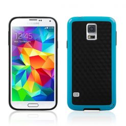 Samsung G900 Galaxy S5 Blue Gel Case With Black Carbon Cube Effect