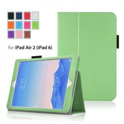 iPad Air 2 Green Side Opening Wallet Case With Stand-0