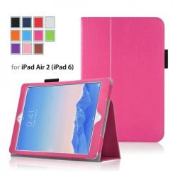 iPad Air 2 Pink Side Opening Wallet Case With Stand-0