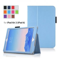 iPad Air 2 Light Blue Side Opening Wallet Case With Stand-0