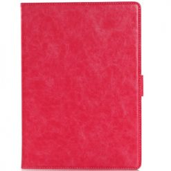 iPad Air 2 Pink Premium Quality Crazy Horse Wallet Case With Cash & Card Holder-0