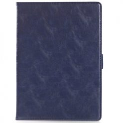 iPad Air 2 Blue Premium Quality Crazy Horse Wallet Case With Cash & Card Holder-0