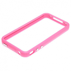 iPhone 4 Pink Bumper With Chrome Buttons-0