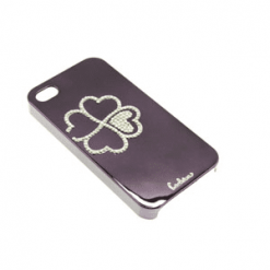 iPhone 4 / 4S Purple Metallic Case With Diamante Flower-0