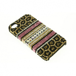 iPhone 4 / 4S Patterned Print Diamante Case-0