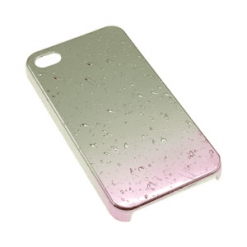 iPhone 4 / 4S Pink and Chrome Rain Drop Case-0