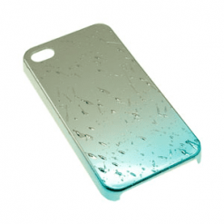 iPhone 4 / 4S Blue and Chrome Rain Drop Case-0
