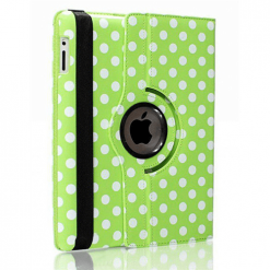 iPad Air 2 Green & White Polka Dot Design Rotating Case With Stand-0