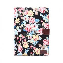 iPad Air 2 Black Vintage Flower Design Wallet Case With Stand-0