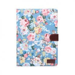 iPad Air 2 Blue Vintage Flower Design Wallet Case With Stand-0