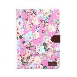 iPad Air 2 Pink Vintage Flower Design Wallet Case With Stand-0