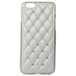 Leather Effect Quilted Back With Diamonds And Clear Gel Case