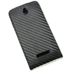 Sony Xperia E Black Carbon Flip Case / Pouch